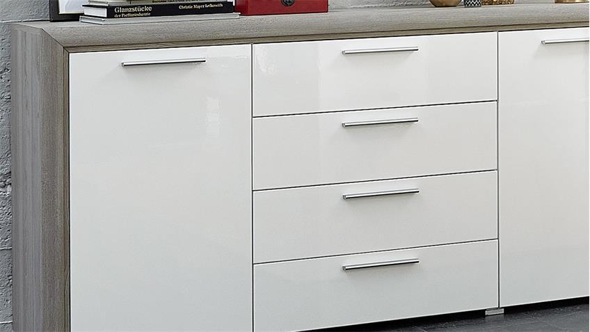 Sideboard KELIS Anrichte Kommode in weiß Hochglanz und Silbereiche