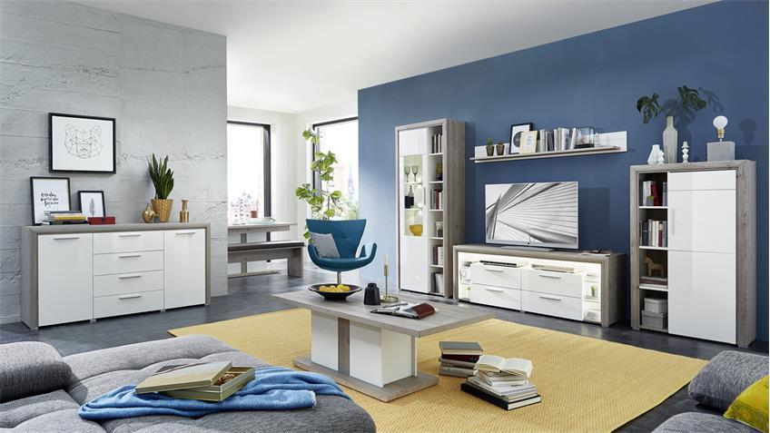 TV-Board KELIS Lowboard weiß Hochglanz und Silbereiche mit LED 165x60
