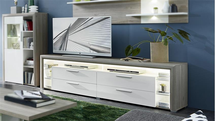 TV-Board KELIS Lowboard in weiß Hochglanz Silbereiche inkl. LED 200x60