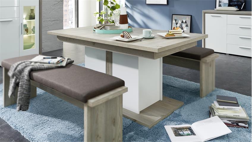 Esstisch KELIS Esszimmertisch in weiß matt und Silbereiche 160-210 cm