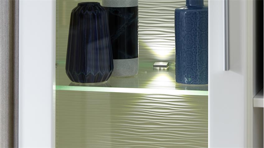 Wohnwand 2 KELIS Anbauwand in weiß Hochglanz und Silbereiche mit LED