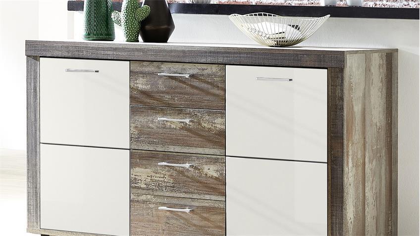 Sideboard CROWN-X Anrichte Kommode weiß Hochglanz und Driftwood 148 cm