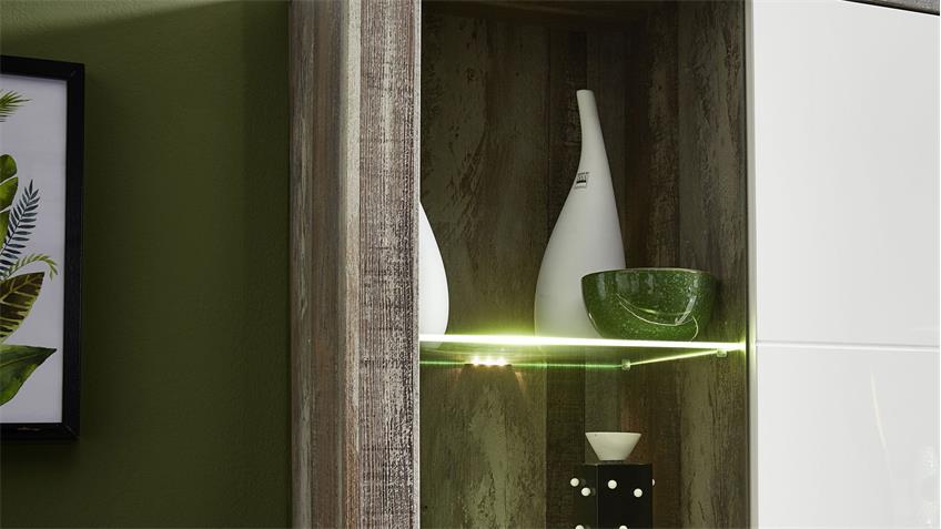 Wohnwand 2 CROWN-X Anbauwand in weiß Hochglanz und Driftwood mit LED