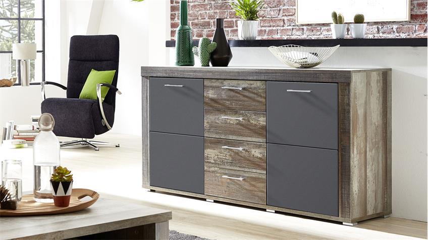 Sideboard CROWN-X Anrichte Kommode graphit supermatt Driftwood 148 cm