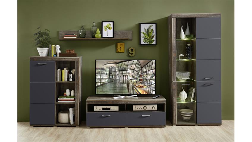 Wohnwand 2 CROWN-X Anbauwand graphit supermatt und Driftwood mit LED