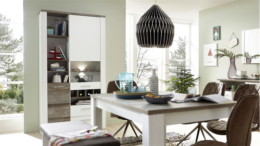 Vitrine MATEO Schrank Buffet in weiß und Driftwood inkl. LED 96x199 cm
