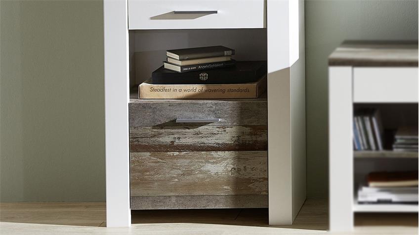 Vitrine MATEO Standvitrine in weiß und Driftwood inkl. LED 64x199 cm