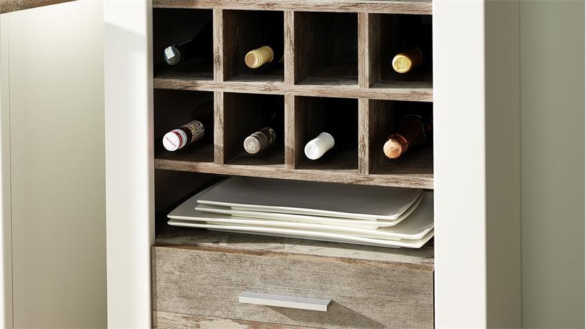 Regal MATEO Flaschenregal Standregal in weiß und Driftwood 64x199 cm