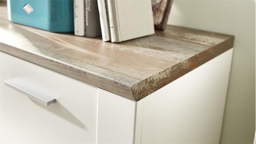 Kommode MATEO Highboard Schrank Anrichte weiß und Driftwood 96x122 cm