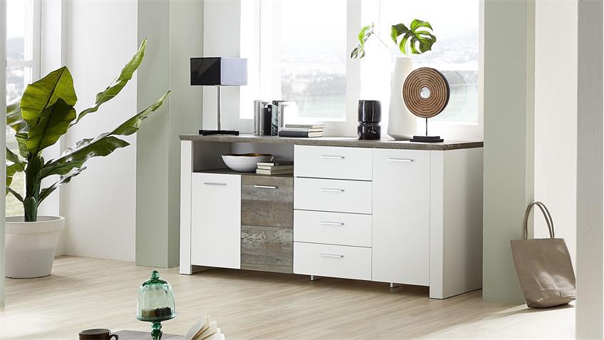 Sideboard MATEO Anrichte Kommode Schrank weiß und Driftwood 179x87 cm
