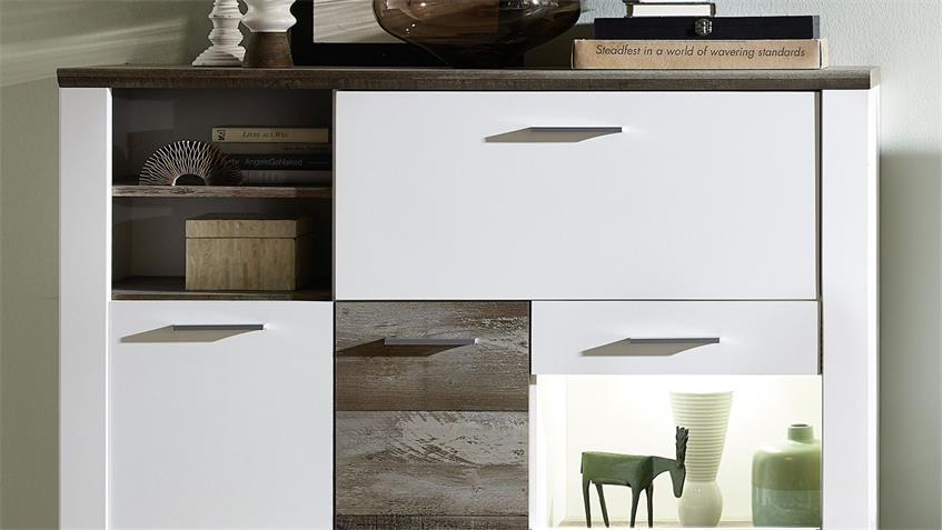 Highboard MATEO Buffet Schrank weiß und Driftwood inkl. LED 133x122 cm
