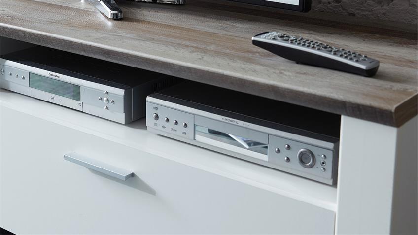 TV-Board MATEO Lowboard Unterschrank in weiß und Driftwood 179x61 cm