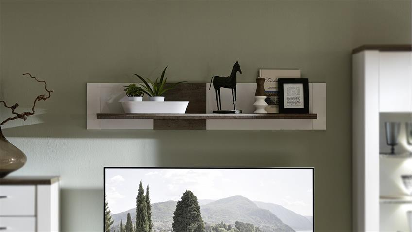 Wandboard MATEO Wandregal Regal Ablage in weiß und Driftwood 144x22 cm