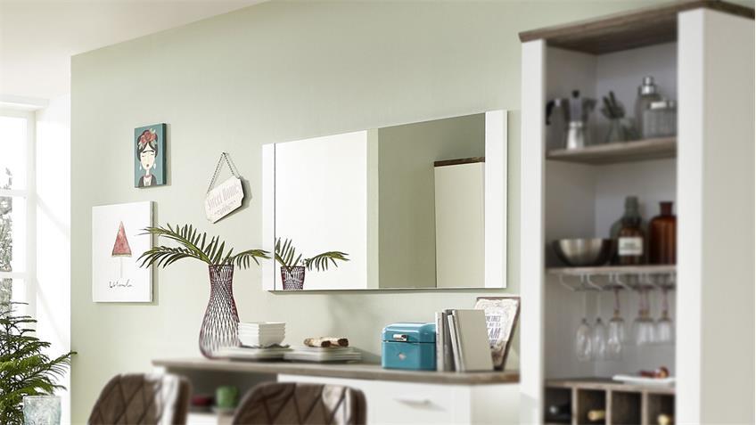 Spiegel MATEO Wandspiegel Hängespiegel Dekospiegel in weiß 134x65 cm