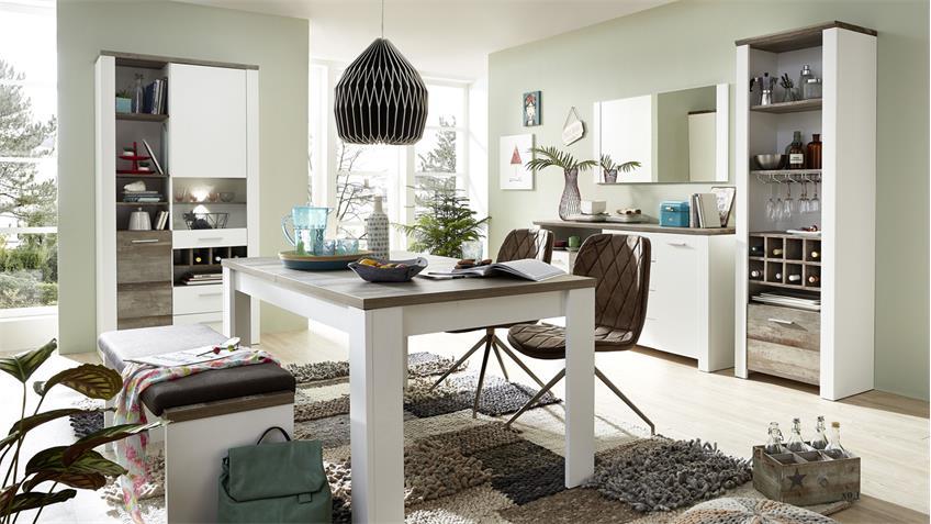 Esstisch MATEO Tisch Esszimmer ausziehbar weiß und Driftwood 240x90 cm