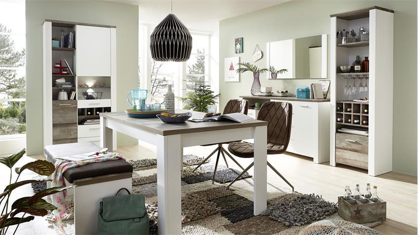 Bank MATEO Sitzbank in weiß und Driftwood mit Klemmkisen 126x49 cm