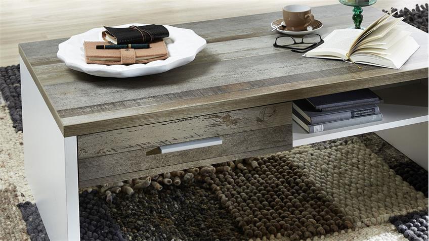 Couchtisch MATEO Beistelltisch Wohnzimmer weiß und Driftwood 110x65 cm