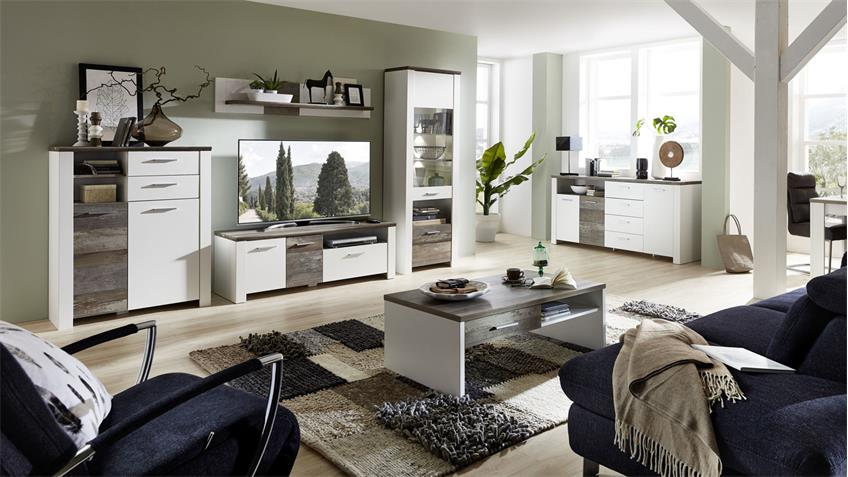 Wohnwand 1 MATEO Anbauwand in weiß und Driftwood inkl. LED 334x199 cm