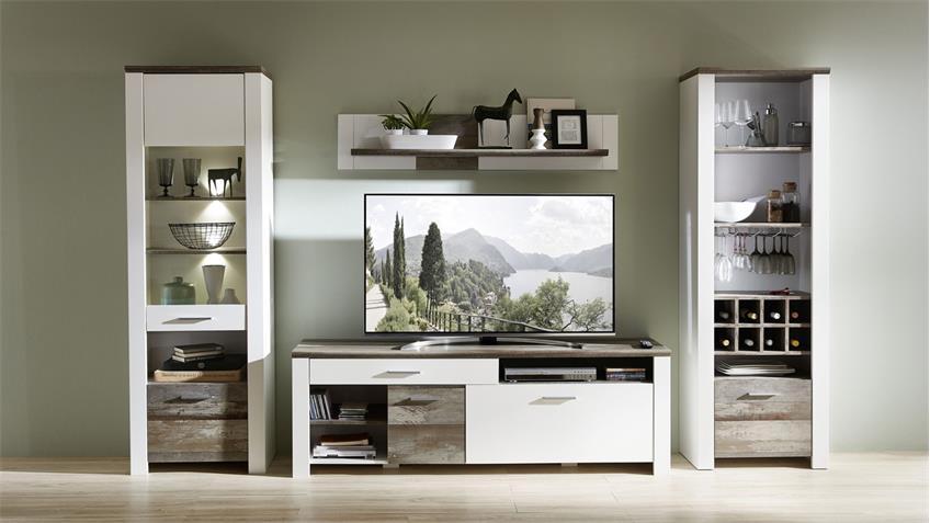 Wohnwand 2 MATEO Anbauwand in weiß und Driftwood inkl. LED 337x199 cm