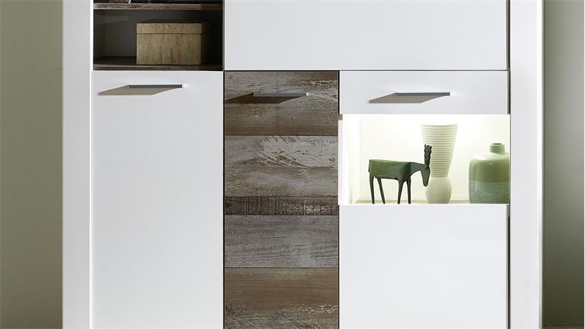 Wohnwand 3 MATEO Anbauwand in weiß und Driftwood inkl. LED 327x179 cm