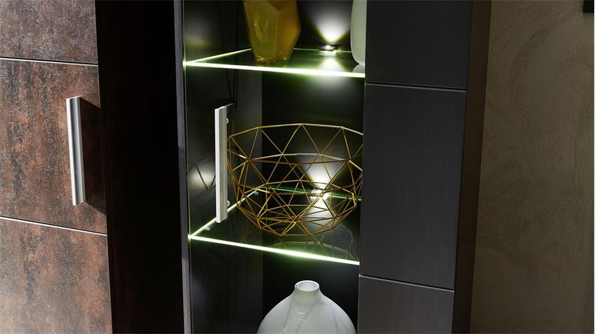 Wohnwand ROJA Anbauwand in graphit matt und Ferro Bronze inkl. LED
