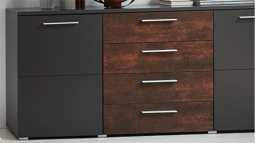 Sideboard ROJA Kommode Anrichte graphit matt und Ferro Bronze 172 cm