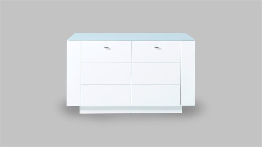Raumteiler DUNDEE Sideboard Kommode in weiß lack matt mit Glas 137 cm