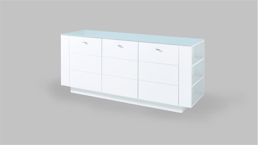 Raumteiler DUNDEE Sideboard Regal weiß lack matt mit Glas 180x50 cm