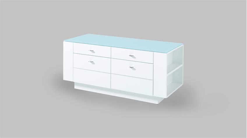 Raumteiler DUNDEE Lowboard Kommode in weiß lack matt mit Glas 137 cm