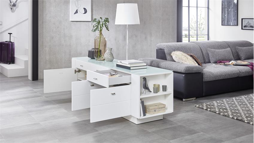 Raumteiler DUNDEE Lowboard Sideboard in weiß lack matt mit Glas 190 cm