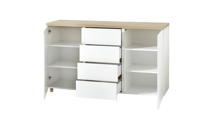 Kommode 20 KEMDO Sideboard Anrichte in weiß matt und Eiche hell 150x42