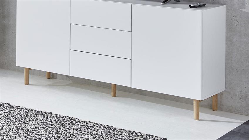 Sideboard 20 KAZO Anrichte Kommode weiß matt Lack Eiche hell 149x41 cm