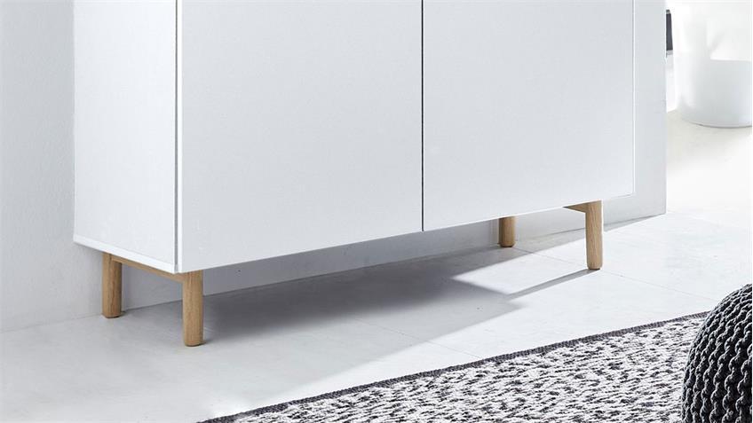Kommode 25 KAZO Anrichte Sideboard weiß matt Lack Eiche hell 100x41 cm