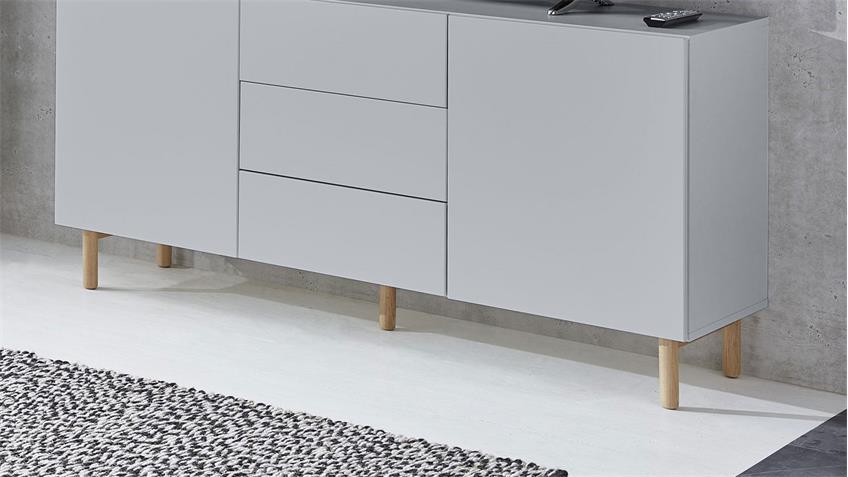 Sideboard 20 KAZO Anrichte Kommode in grau matt Lack Eiche hell 149x41