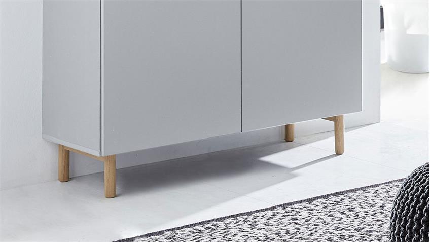 Kommode 25 KAZO Sideboard Anrichte grau matt Lack Eiche hell 100x41 cm