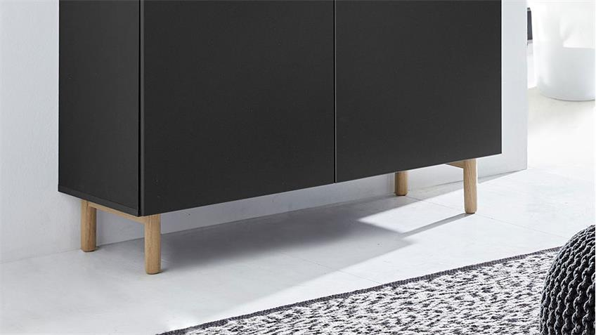 Kommode 25 KAZO Sideboard in anthrazit matt Lack Eiche hell 100x41 cm