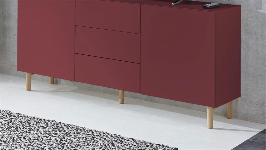 Sideboard 20 KAZO Anrichte Kommode in rot matt Lack Eiche hell 149x41
