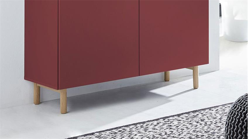 Kommode 25 KAZO Sideboard Anrichte in rot matt Lack Eiche hell 100x41