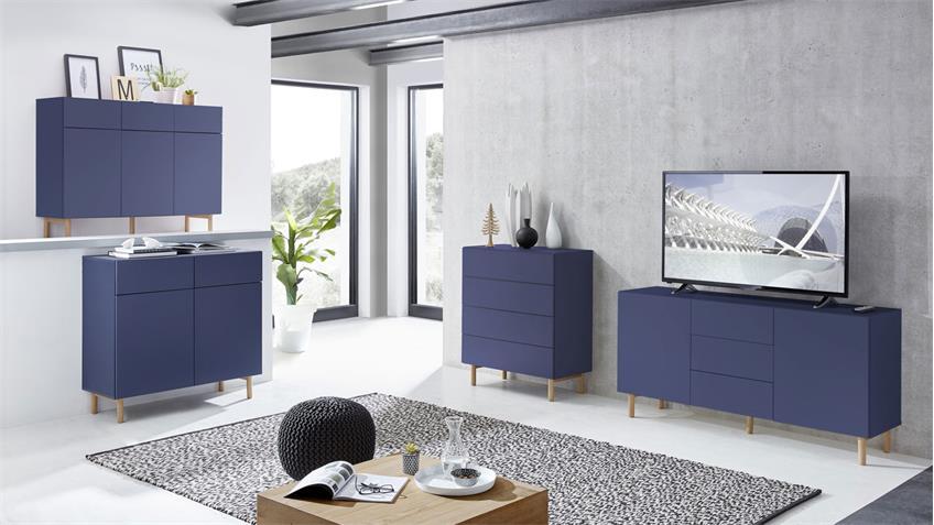 Sideboard 20 KAZO Anrichte Kommode in blau matt Lack Eiche hell 149x41