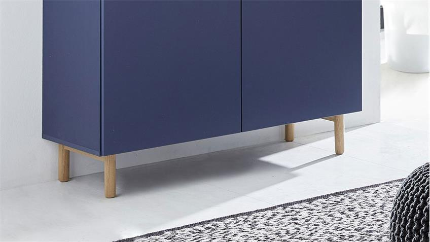 Kommode 25 KAZO Sideboard Anrichte in blau matt Lack Eiche hell 100x41