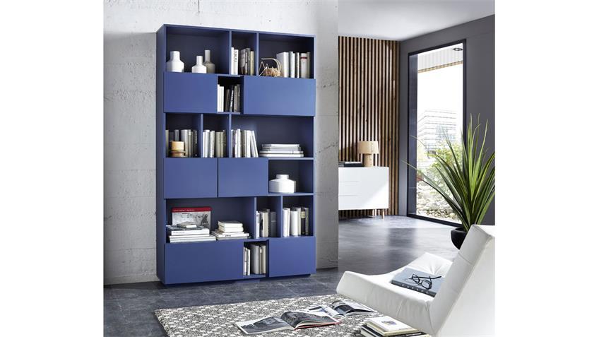 Regal RAGA Büroregal Bücherregal Schrank in blau matt lackiert 120x194
