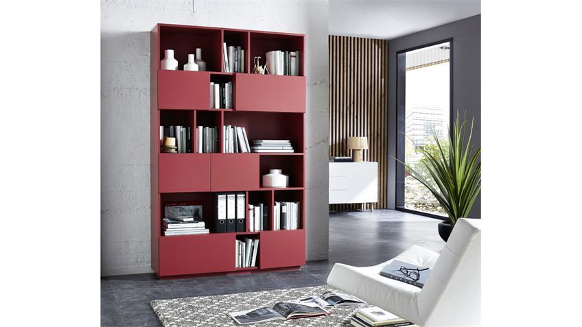 Regal RAGA Büroregal Bücherregal Schrank in rot matt lackiert 120x194