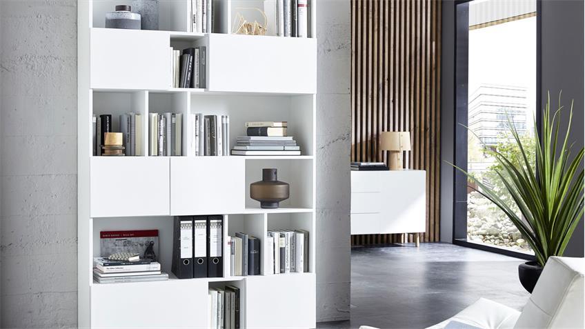 Regal RAGA Büroregal Bücherregal Schrank in weiß matt lackiert 120x194