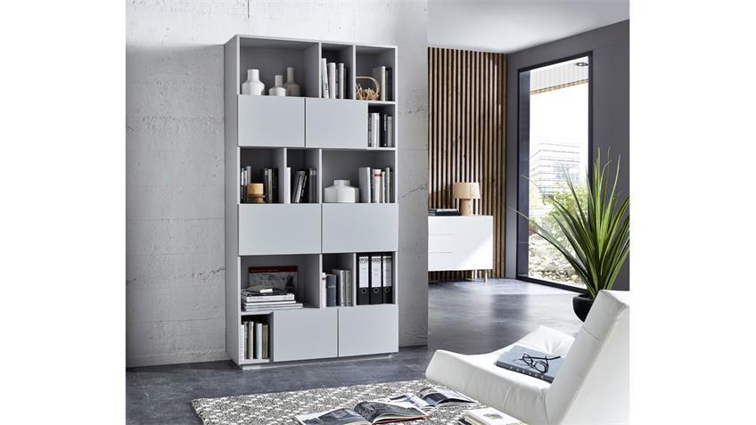 Regal RAGA Büroregal Bücherregal Schrank grau matt lackiert 100x194 cm