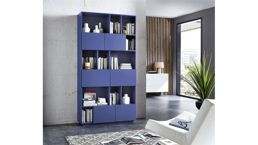 Regal RAGA Büroregal Bücherregal Schrank blau matt lackiert 100x194 cm