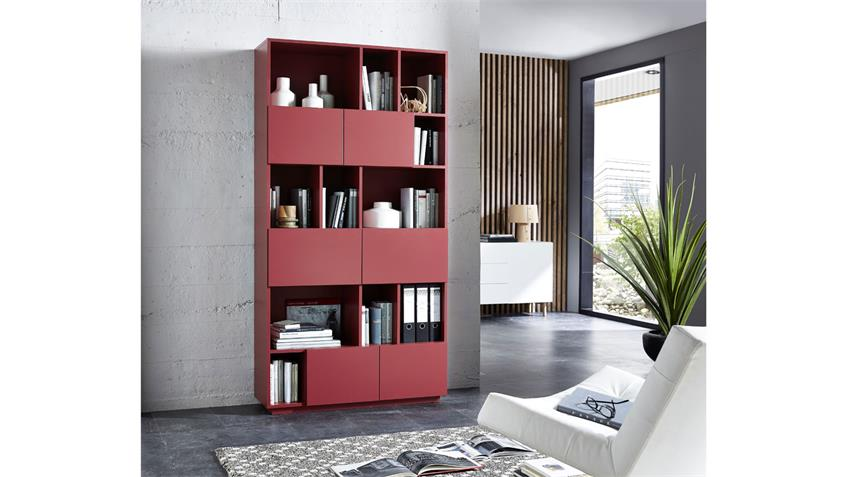 Regal RAGA Büroregal Bücherregal Schrank rot matt lackiert 100x194 cm