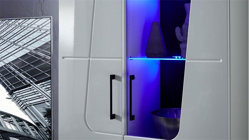 Wohnwand SPIRIT PLUS Anbauwand Wohnzimmer in weiß Hochglanz inkl. LED