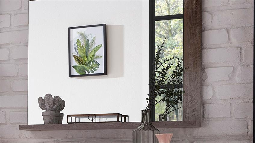 Spiegel CROWN-X Wandspiegel Hängespiegel Garderobe Driftwood 77x70 cm