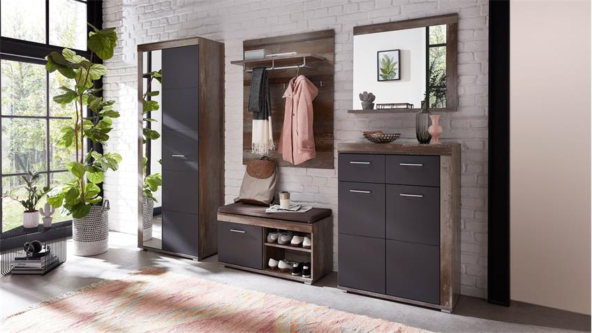 Bank CROWN-X Garderobe in graphit supermatt Driftwood mit Sitzkissen