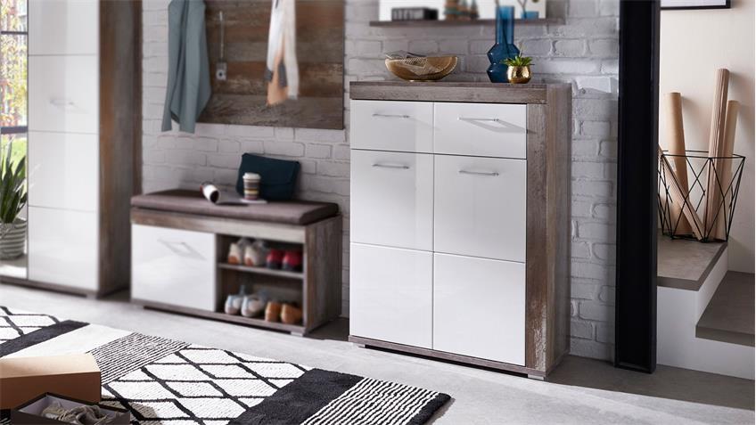 Schuhschrank CROWN-X Garderobe in weiß Hochglanz und Driftwood 77 cm